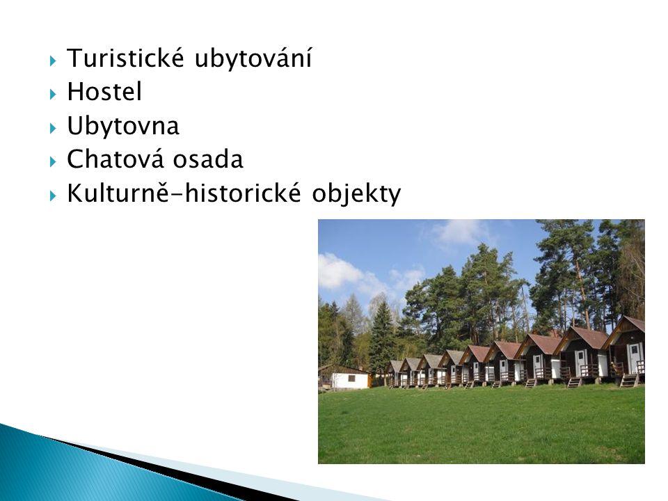  Turistické ubytování  Hostel  Ubytovna  Chatová osada  Kulturně-historické objekty