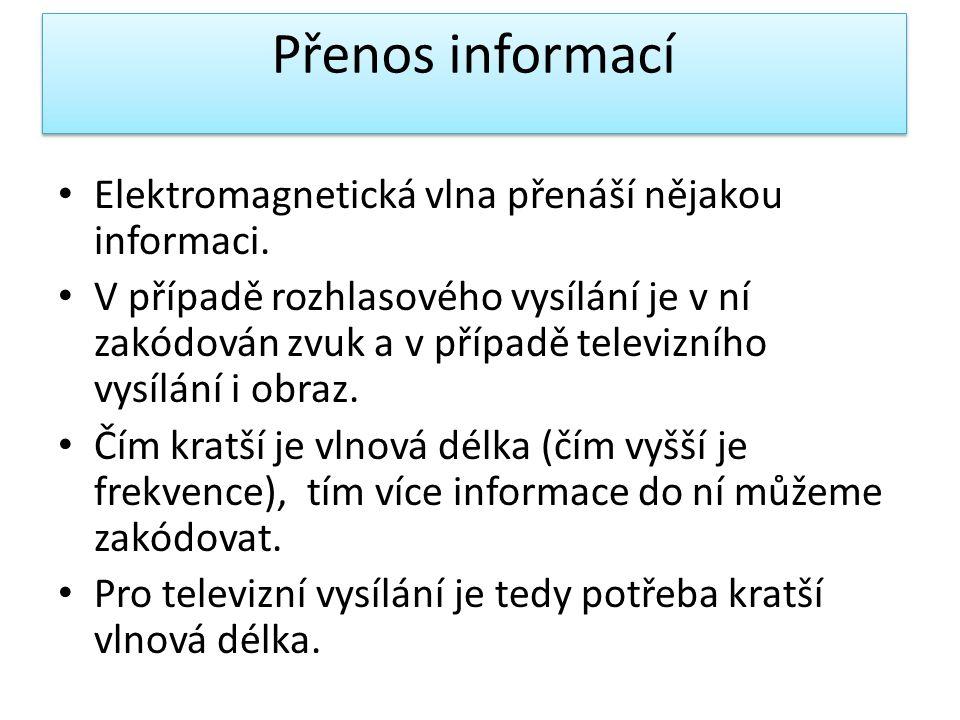 Přenos informací • Elektromagnetická vlna přenáší nějakou informaci. • V případě rozhlasového vysílání je v ní zakódován zvuk a v případě televizního