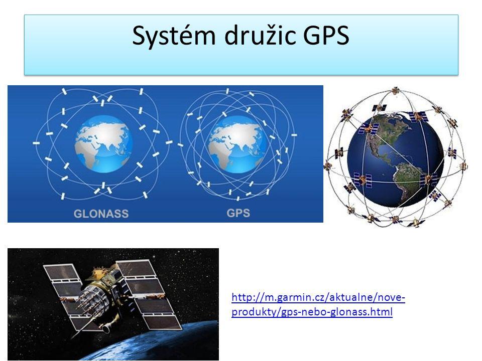 Systém družic GPS http://m.garmin.cz/aktualne/nove- produkty/gps-nebo-glonass.html