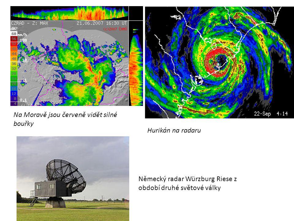 Na Moravě jsou červeně vidět silné bouřky Hurikán na radaru Německý radar Würzburg Riese z období druhé světové války