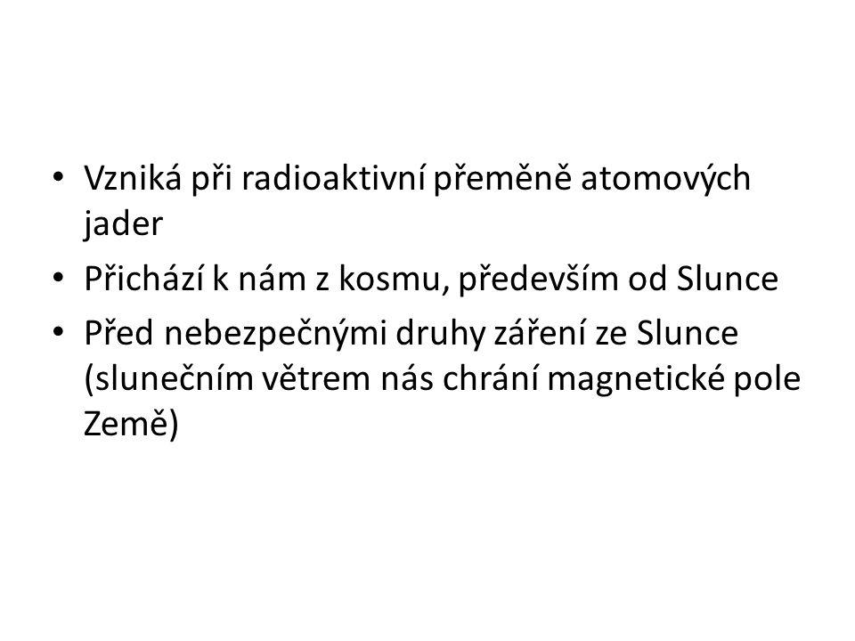 • Vzniká při radioaktivní přeměně atomových jader • Přichází k nám z kosmu, především od Slunce • Před nebezpečnými druhy záření ze Slunce (slunečním