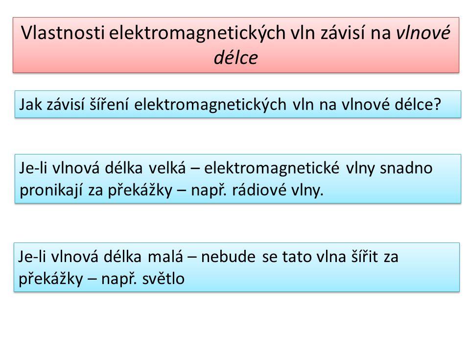 Čím kratší je vlnová délka elektromagnetické vlny, tím vyšší je jí kmitočet a naopak.