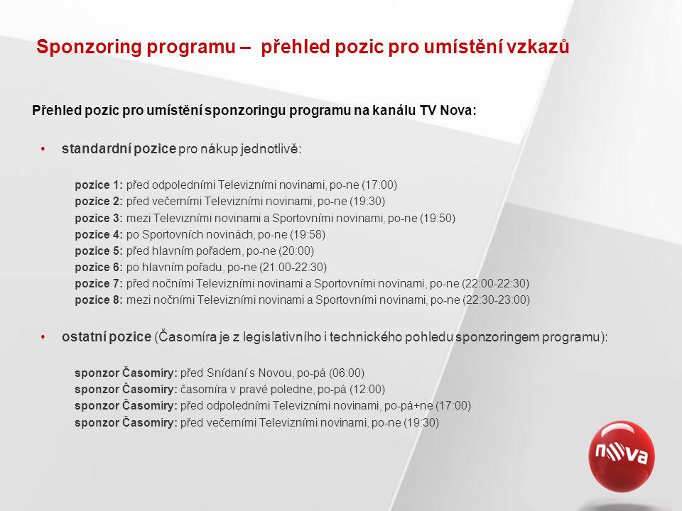 Sponzoring programu – přehled pozic pro umístění vzkazů Přehled pozic pro umístění sponzoringu programu na kanálu TV Nova: •standardní pozice pro nákup jednotlivě: pozice 1: před odpoledními Televizními novinami, po-ne (17:00) pozice 2: před večerními Televizními novinami, po-ne (19:30) pozice 3: mezi Televizními novinami a Sportovními novinami, po-ne (19:50) pozice 4: po Sportovních novinách, po-ne (19:58) pozice 5: před hlavním pořadem, po-ne (20:00) pozice 6: po hlavním pořadu, po-ne (21:00-22:30) pozice 7: před nočními Televizními novinami a Sportovními novinami, po-ne (22:00-22:30) pozice 8: mezi nočními Televizními novinami a Sportovními novinami, po-ne (22:30-23:00) •ostatní pozice (Časomíra je z legislativního i technického pohledu sponzoringem programu): sponzor Časomíry: před Snídaní s Novou, po-pá (06:00) sponzor Časomíry: časomíra v pravé poledne, po-pá (12:00) sponzor Časomíry: před odpoledními Televizními novinami, po-pá+ne (17:00) sponzor Časomíry: před večerními Televizními novinami, po-ne (19:30)