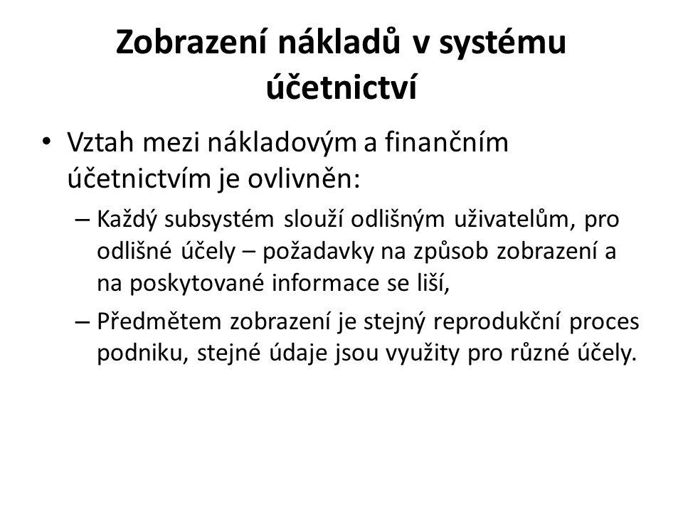 Zobrazení nákladů v systému účetnictví • Vztah mezi nákladovým a finančním účetnictvím je ovlivněn: – Každý subsystém slouží odlišným uživatelům, pro