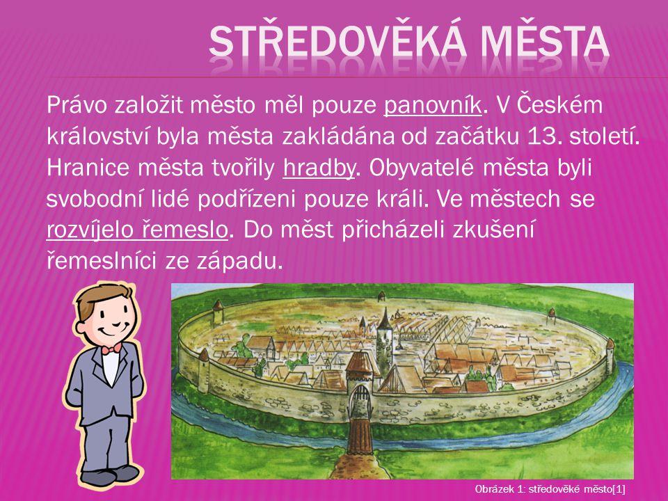 Právo založit město měl pouze panovník. V Českém království byla města zakládána od začátku 13. století. Hranice města tvořily hradby. Obyvatelé města