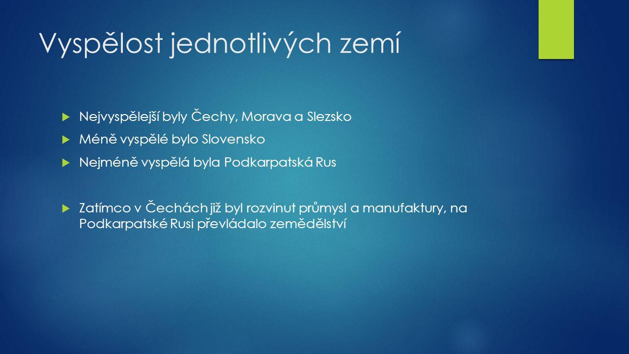 Vyspělost jednotlivých zemí  Nejvyspělejší byly Čechy, Morava a Slezsko  Méně vyspělé bylo Slovensko  Nejméně vyspělá byla Podkarpatská Rus  Zatím