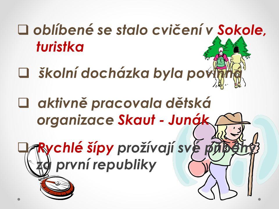  oblíbené se stalo cvičení v Sokole, turistka  školní docházka byla povinná  aktivně pracovala dětská organizace Skaut - Junák  Rychlé šípy prožív