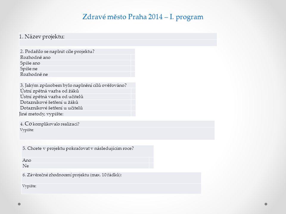 Zdravé město Praha 2014 – I. program 1. Název projektu: 2.
