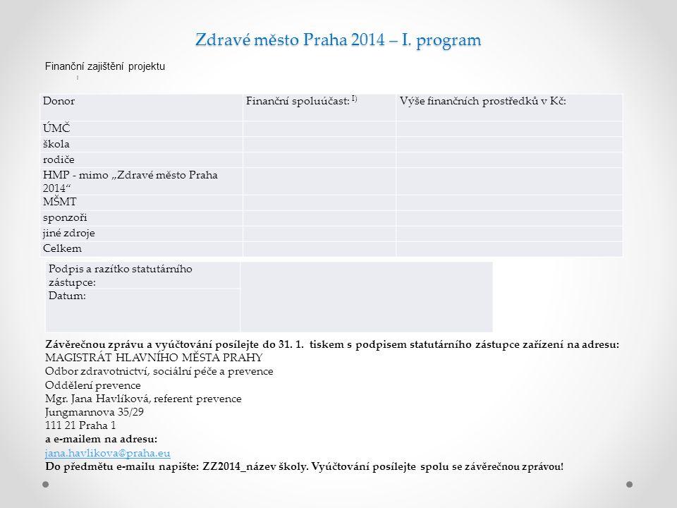 Zdravé město Praha 2014 – I.