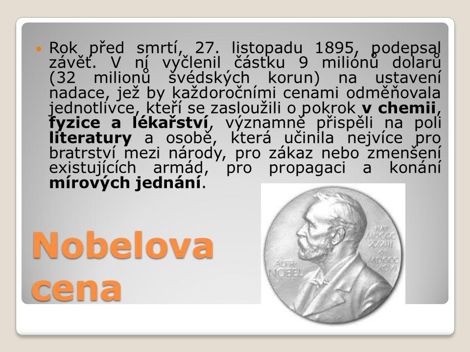 Nobelova cena  Rok před smrtí, 27. listopadu 1895, podepsal závěť. V ní vyčlenil částku 9 miliónů dolarů (32 milionů švédských korun) na ustavení nad