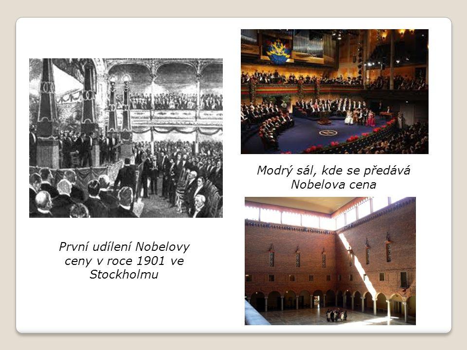 První udílení Nobelovy ceny v roce 1901 ve Stockholmu Modrý sál, kde se předává Nobelova cena