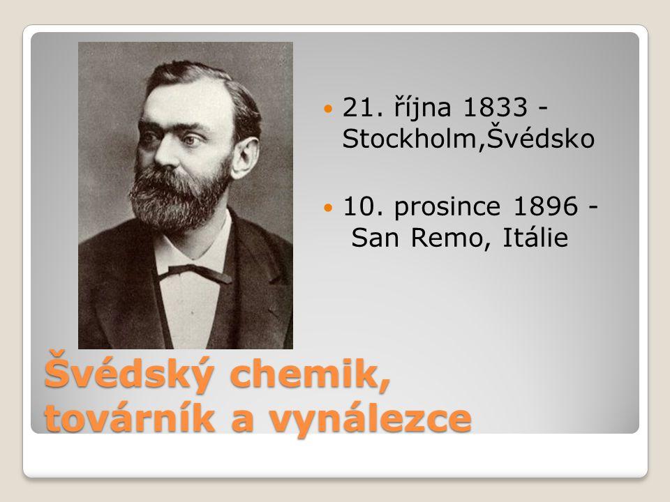 Švédský chemik, továrník a vynálezce  21. října 1833 - Stockholm,Švédsko  10. prosince 1896 - San Remo, Itálie