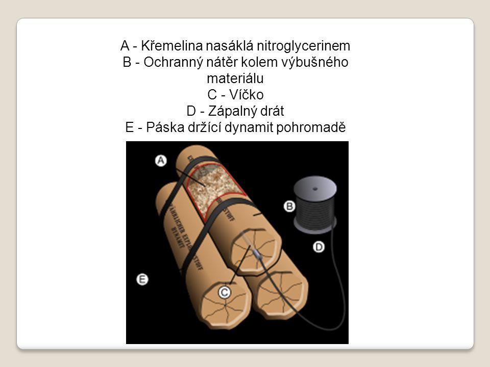 A - Křemelina nasáklá nitroglycerinem B - Ochranný nátěr kolem výbušného materiálu C - Víčko D - Zápalný drát E - Páska držící dynamit pohromadě