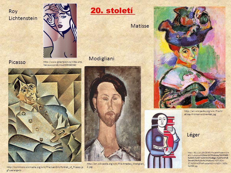 20. století Picasso http://en.wikipedia.org/wiki/File:Amadeo_Modigliani_04 2.jpg Modigliani http://en.wikipedia.org/wiki/File:M atisse-Woman-with-a-Ha