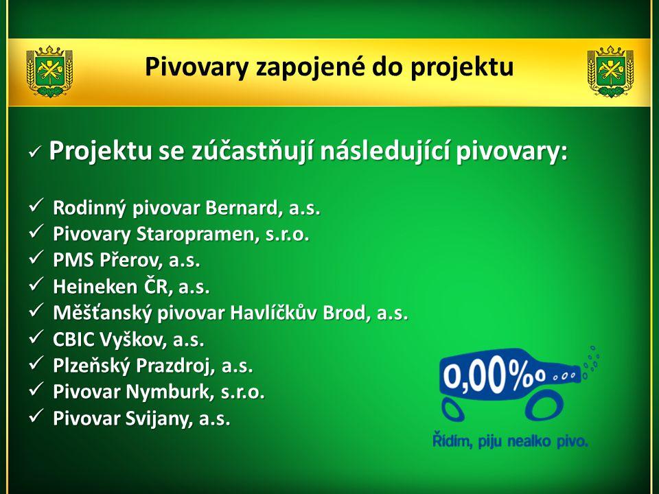 Pivovary zapojené do projektu  Projektu se zúčastňují následující pivovary:  Rodinný pivovar Bernard, a.s.