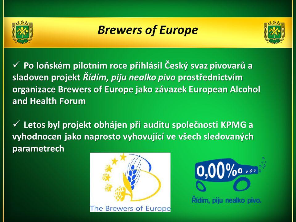 Brewers of Europe  Po loňském pilotním roce přihlásil Český svaz pivovarů a sladoven projekt Řídím, piju nealko pivo prostřednictvím organizace Brewers of Europe jako závazek European Alcohol and Health Forum  Letos byl projekt obhájen při auditu společnosti KPMG a vyhodnocen jako naprosto vyhovující ve všech sledovaných parametrech