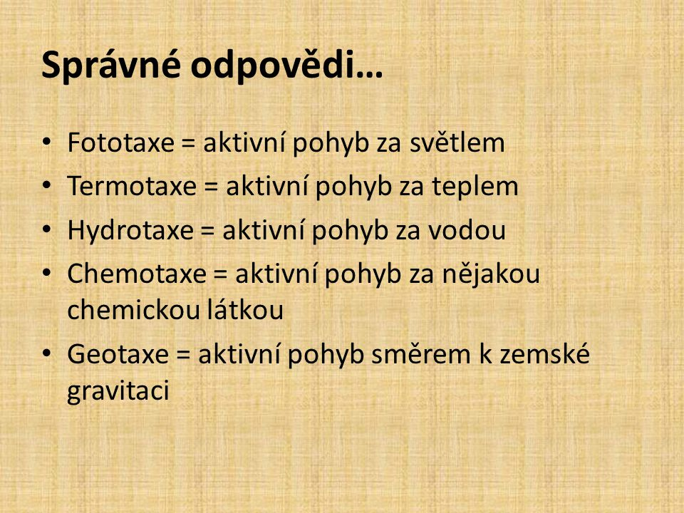 Správné odpovědi… • Fototaxe = aktivní pohyb za světlem • Termotaxe = aktivní pohyb za teplem • Hydrotaxe = aktivní pohyb za vodou • Chemotaxe = aktiv