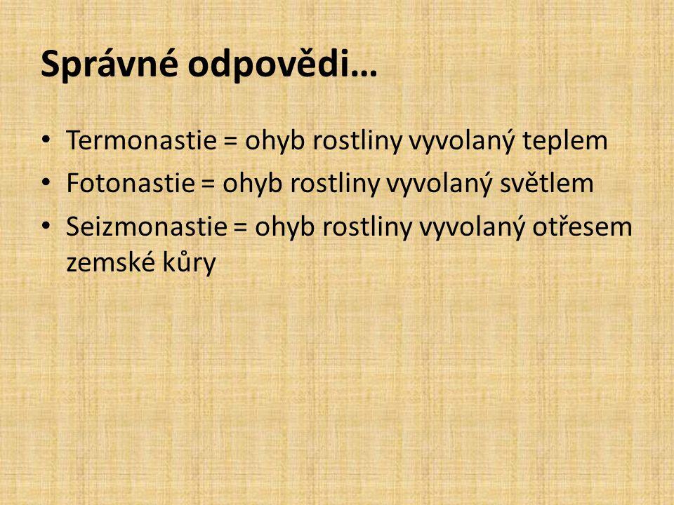 Správné odpovědi… • Termonastie = ohyb rostliny vyvolaný teplem • Fotonastie = ohyb rostliny vyvolaný světlem • Seizmonastie = ohyb rostliny vyvolaný