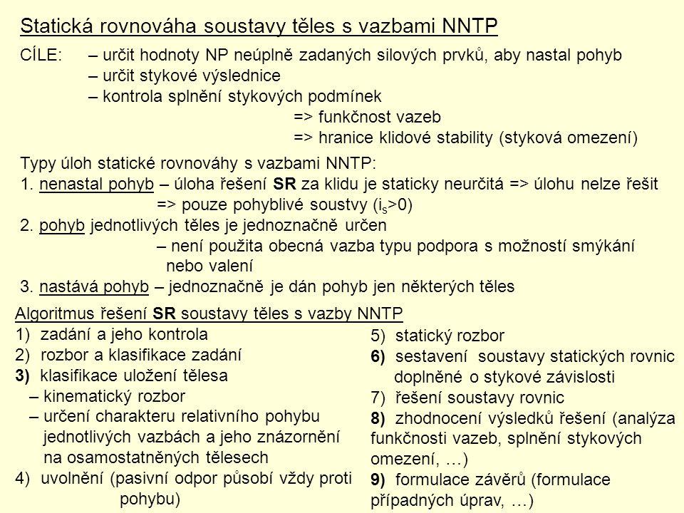 Statická rovnováha soustavy těles s vazbami NNTP CÍLE:– určit hodnoty NP neúplně zadaných silových prvků, aby nastal pohyb – určit stykové výslednice