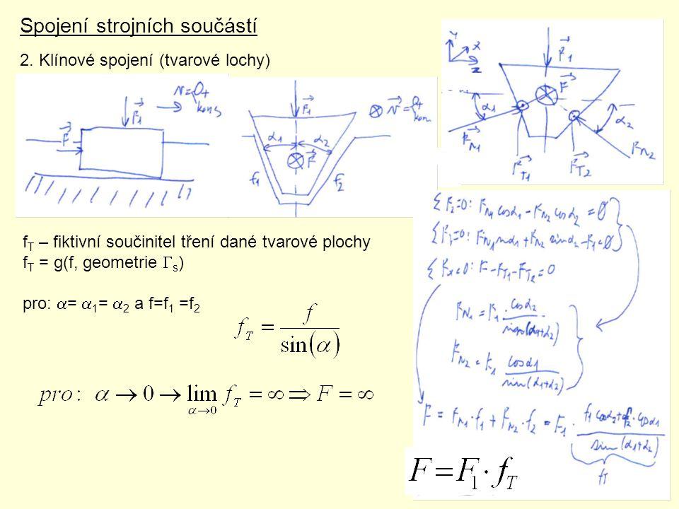 Spojení strojních součástí 2. Klínové spojení (tvarové lochy) f T – fiktivní součinitel tření dané tvarové plochy f T = g(f, geometrie  s ) pro:  =