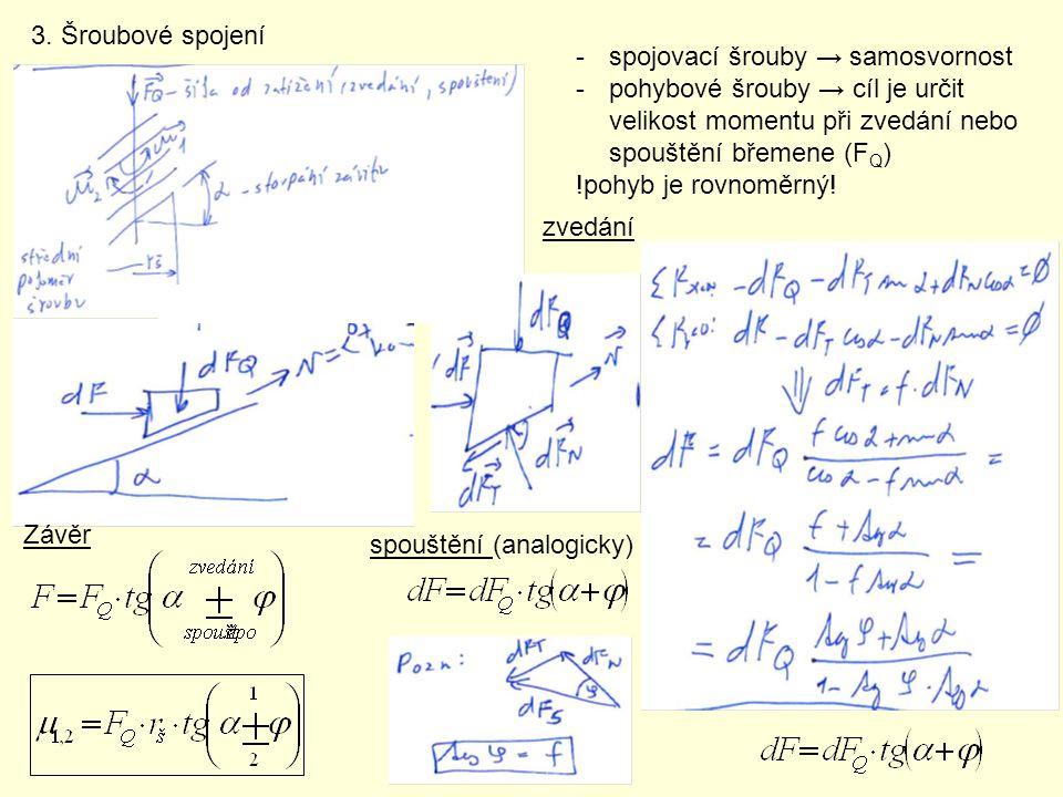 3. Šroubové spojení -spojovací šrouby → samosvornost -pohybové šrouby → cíl je určit velikost momentu při zvedání nebo spouštění břemene (F Q ) !pohyb