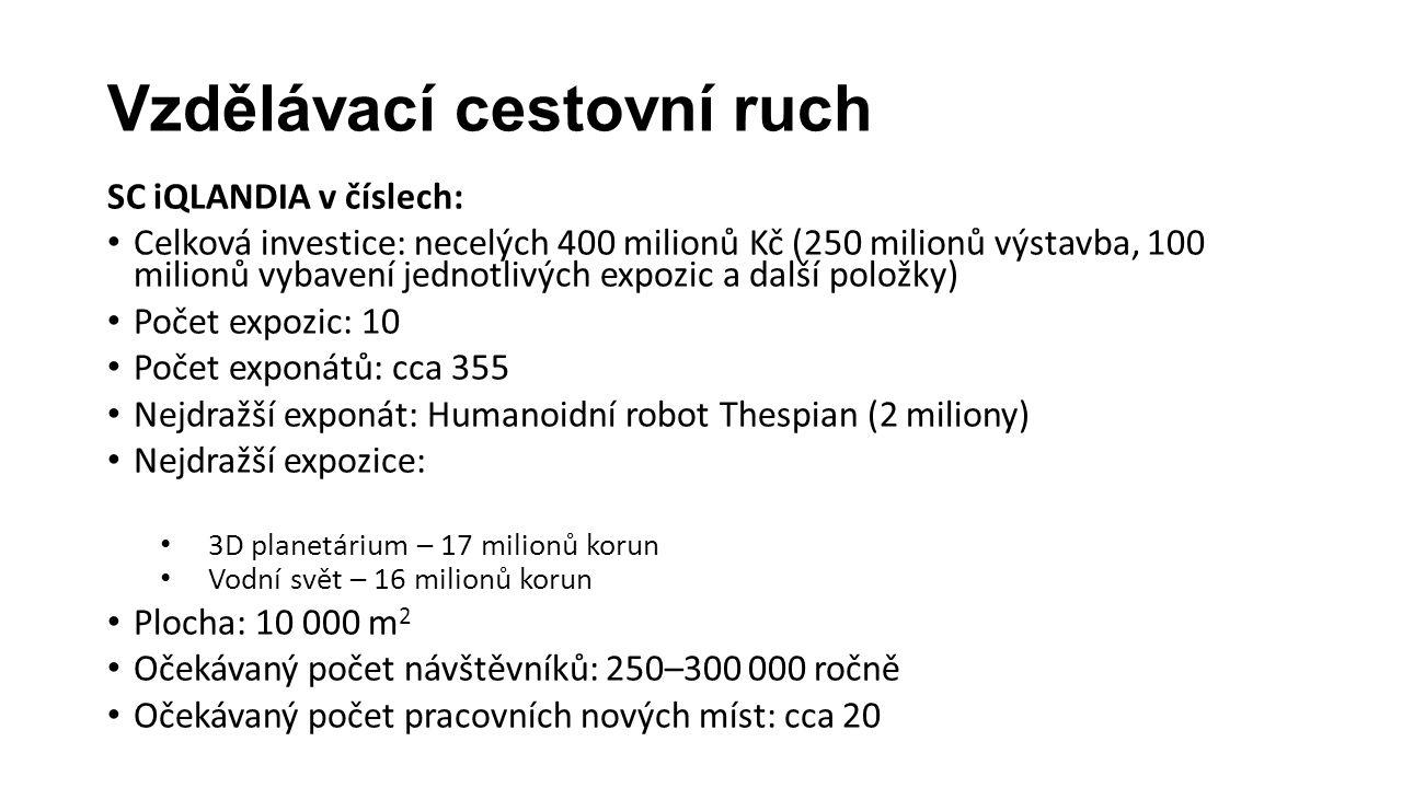 Vzdělávací cestovní ruch SC iQLANDIA v číslech: • Celková investice: necelých 400 milionů Kč (250 milionů výstavba, 100 milionů vybavení jednotlivých