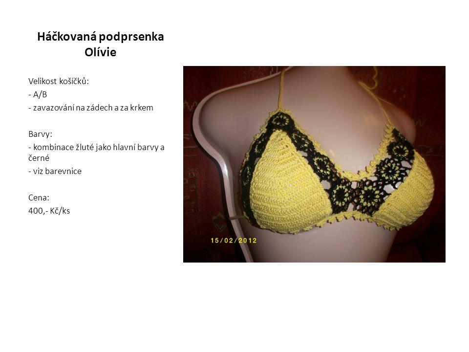 Háčkovaná podprsenka Olívie Velikost košíčků: - A/B - zavazování na zádech a za krkem Barvy: - kombinace žluté jako hlavní barvy a černé - viz barevnice Cena: 400,- Kč/ks