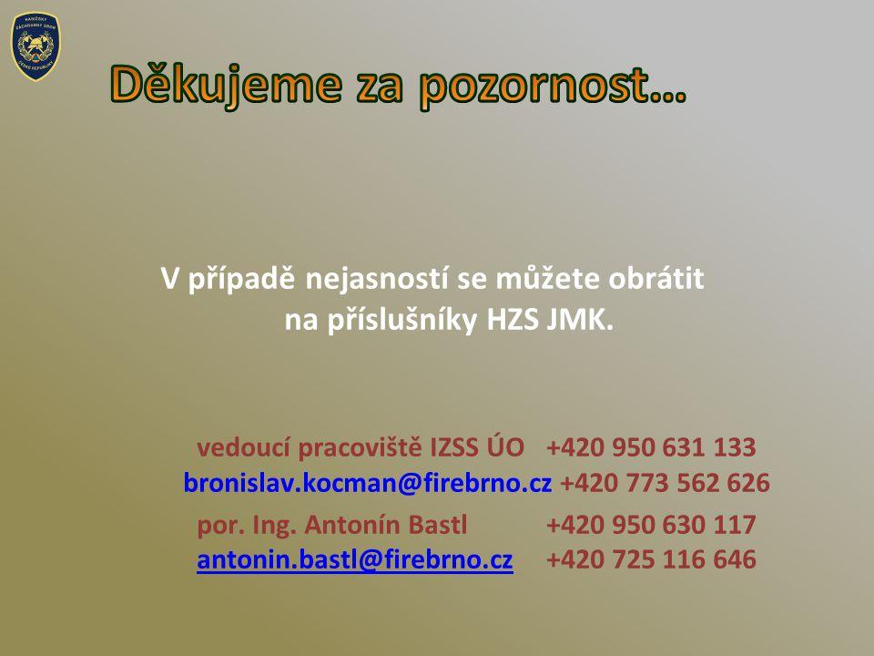 V případě nejasností se můžete obrátit na příslušníky HZS JMK.