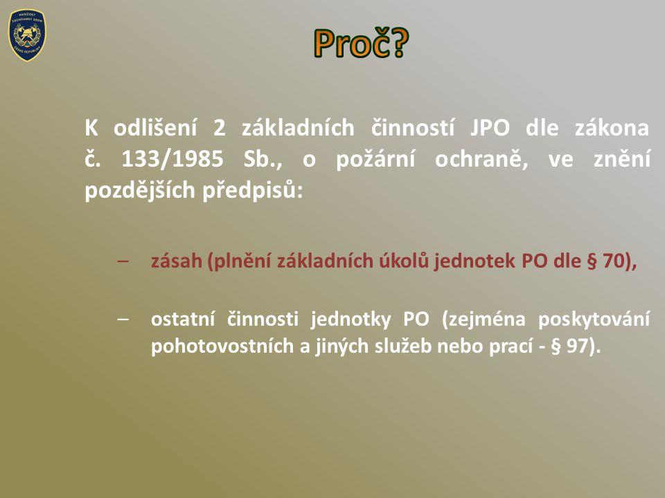 K odlišení 2 základních činností JPO dle zákona č.