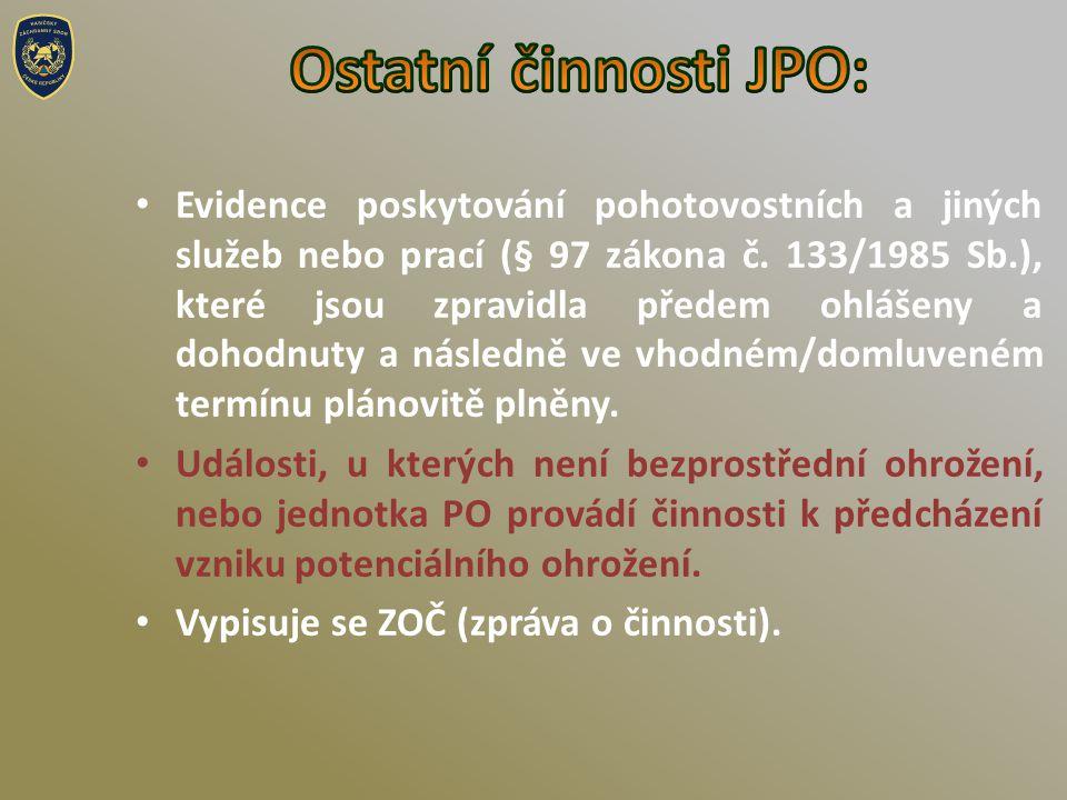 • Evidence poskytování pohotovostních a jiných služeb nebo prací (§ 97 zákona č.