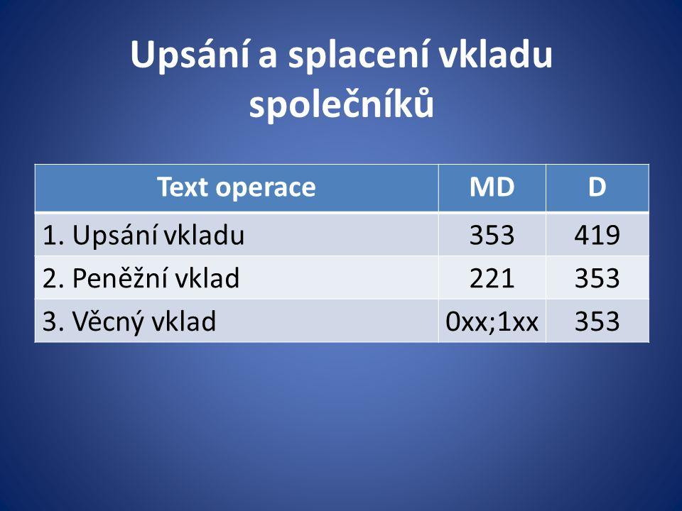 Upsání a splacení vkladu společníků Text operaceMDD 1. Upsání vkladu353419 2. Peněžní vklad221353 3. Věcný vklad0xx;1xx353