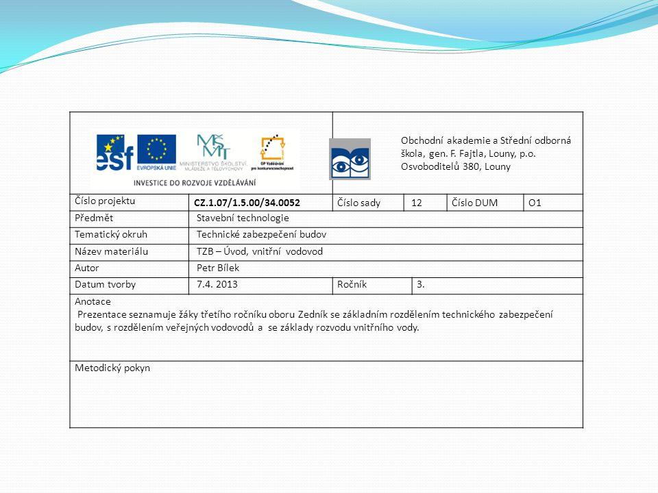 TZB zahrnuje: Instalace - vytápění, vzduchotechnika, klimatizace, chlazení, rozvody plynu, vody a kanalizace, centrální vysavače Elektrotechnické rozvody - měření a regulace, elektrorozvody, zabezpečovací technika, řídicí systémy pro veškerá technická zařízení, hromosvody, telefonní rozvody, rozvody televizního signálu, počítačové sítě apod.