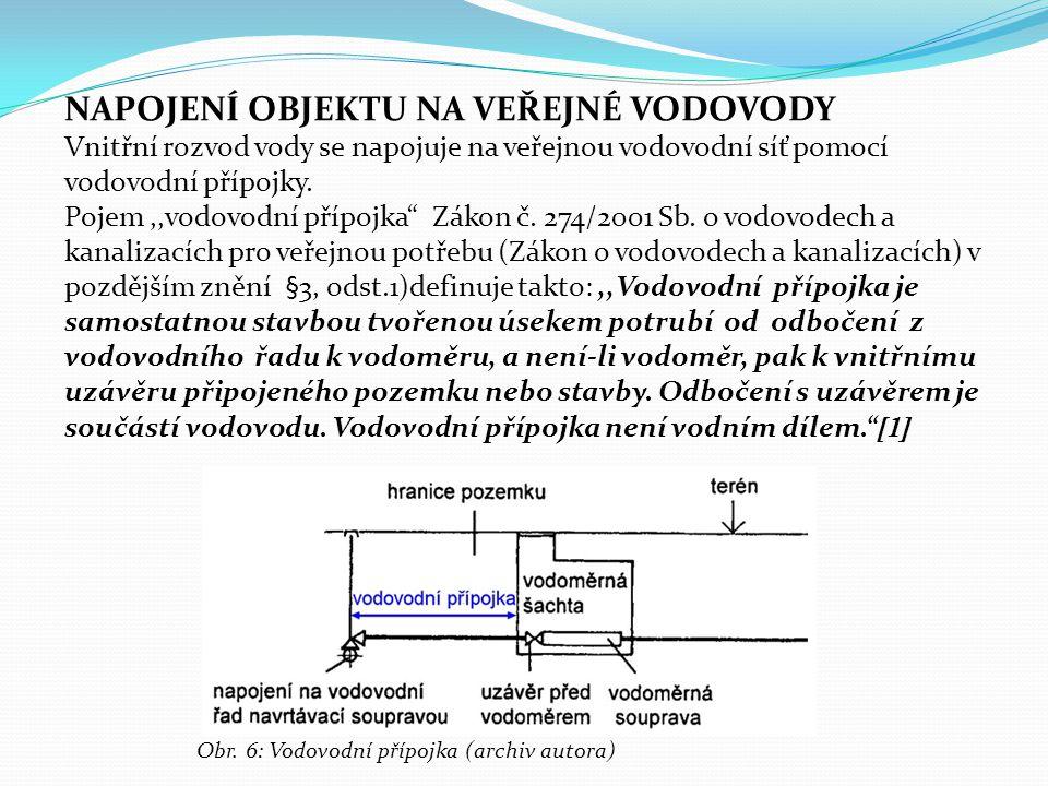 """NAPOJENÍ OBJEKTU NA VEŘEJNÉ VODOVODY Vnitřní rozvod vody se napojuje na veřejnou vodovodní síť pomocí vodovodní přípojky. Pojem,,vodovodní přípojka"""" Z"""