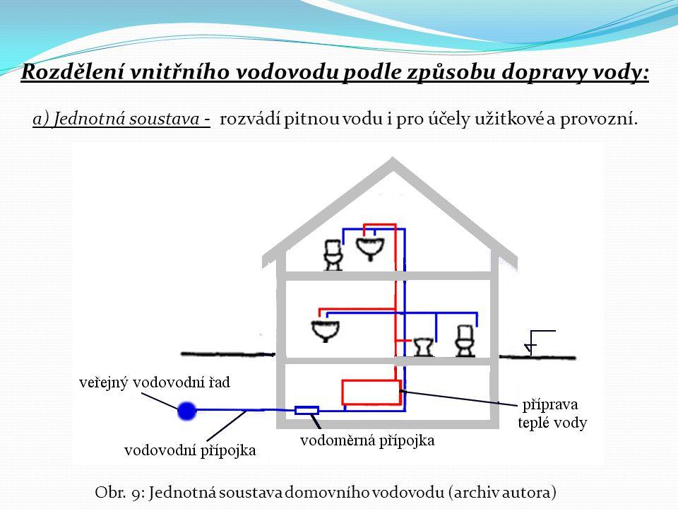 Rozdělení vnitřního vodovodu podle způsobu dopravy vody: a) Jednotná soustava - rozvádí pitnou vodu i pro účely užitkové a provozní. Obr. 9: Jednotná