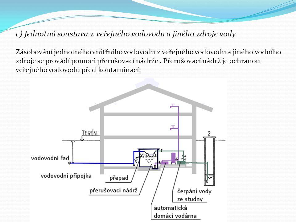 c) Jednotná soustava z veřejného vodovodu a jiného zdroje vody Zásobování jednotného vnitřního vodovodu z veřejného vodovodu a jiného vodního zdroje s