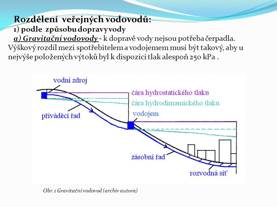 Rozdělení veřejných vodovodů: 1) podle způsobu dopravy vody a) Gravitační vodovody - k dopravě vody nejsou potřeba čerpadla. Výškový rozdíl mezi spotř