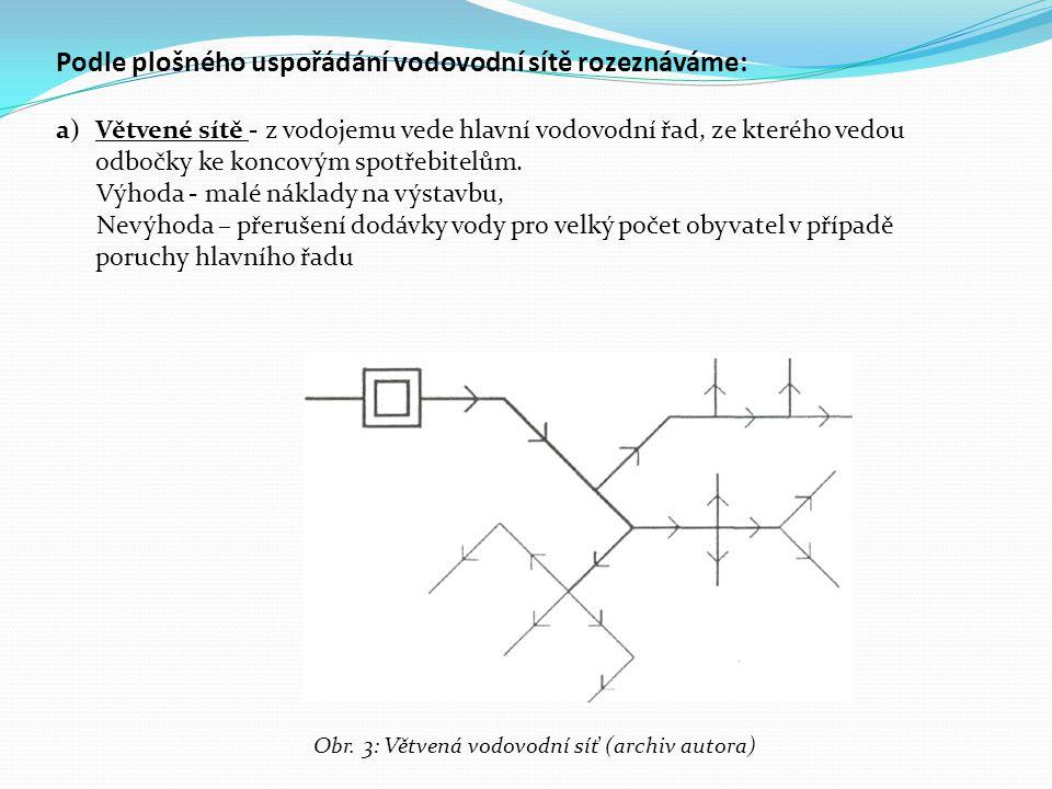 Podle plošného uspořádání vodovodní sítě rozeznáváme: a)Větvené sítě - z vodojemu vede hlavní vodovodní řad, ze kterého vedou odbočky ke koncovým spot