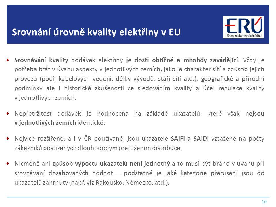 10 Srovnání úrovně kvality elektřiny v EU  Srovnávání kvality dodávek elektřiny je dosti obtížné a mnohdy zavádějící. Vždy je potřeba brát v úvahu as