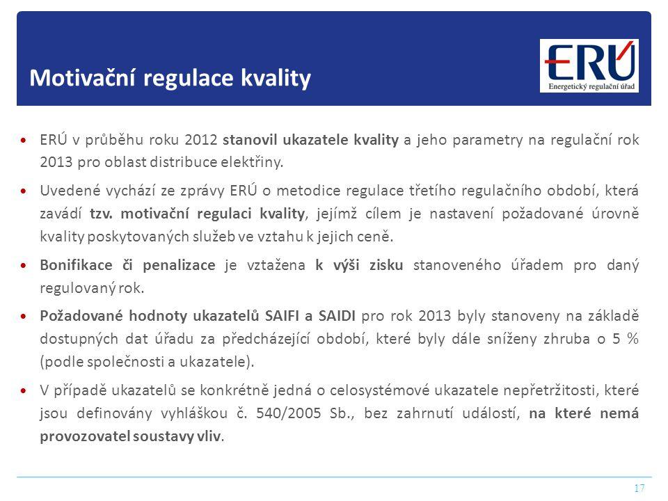 17 Motivační regulace kvality  ERÚ v průběhu roku 2012 stanovil ukazatele kvality a jeho parametry na regulační rok 2013 pro oblast distribuce elektř
