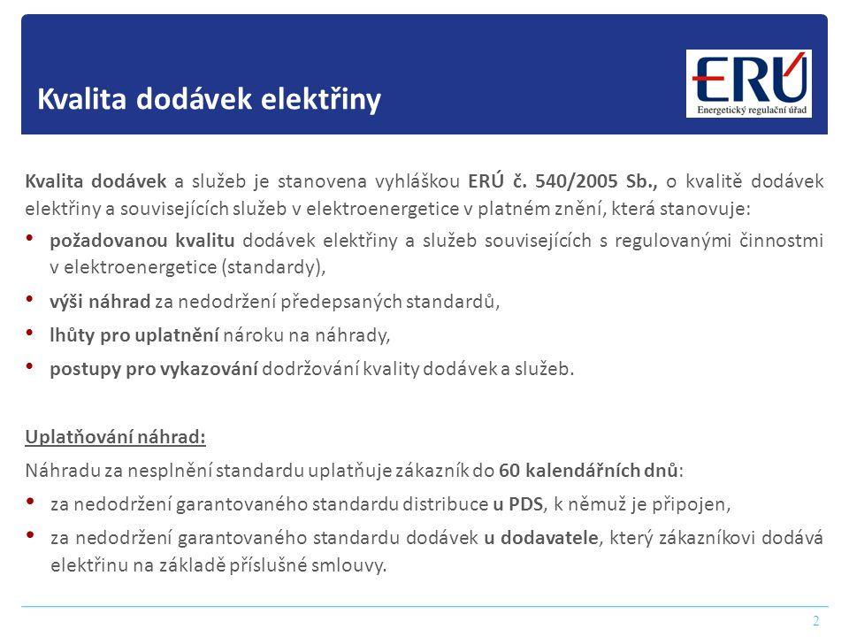 Kvalita dodávek elektřiny 2 Kvalita dodávek a služeb je stanovena vyhláškou ERÚ č. 540/2005 Sb., o kvalitě dodávek elektřiny a souvisejících služeb v