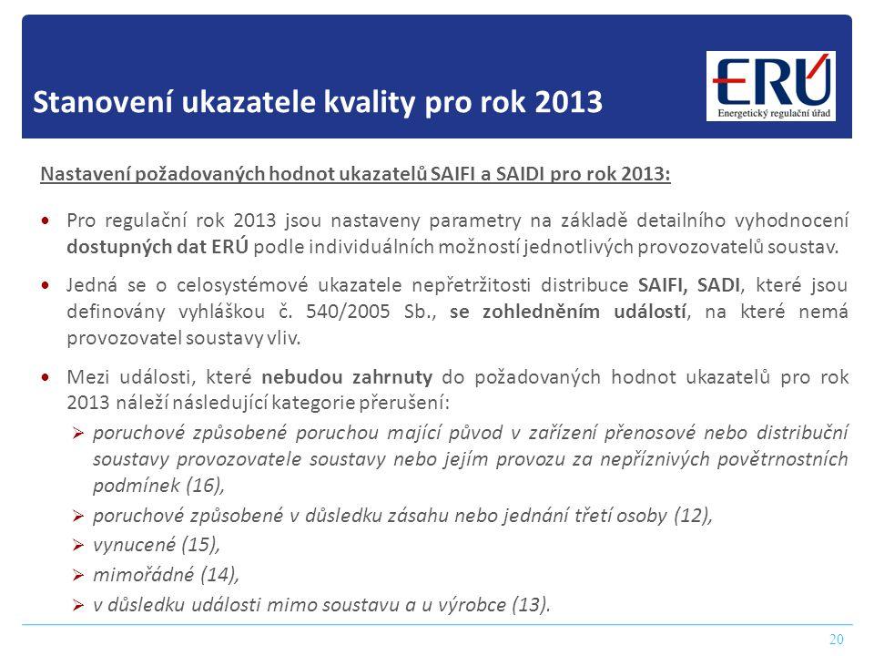 Stanovení ukazatele kvality pro rok 2013 20 Nastavení požadovaných hodnot ukazatelů SAIFI a SAIDI pro rok 2013:  Pro regulační rok 2013 jsou nastaven