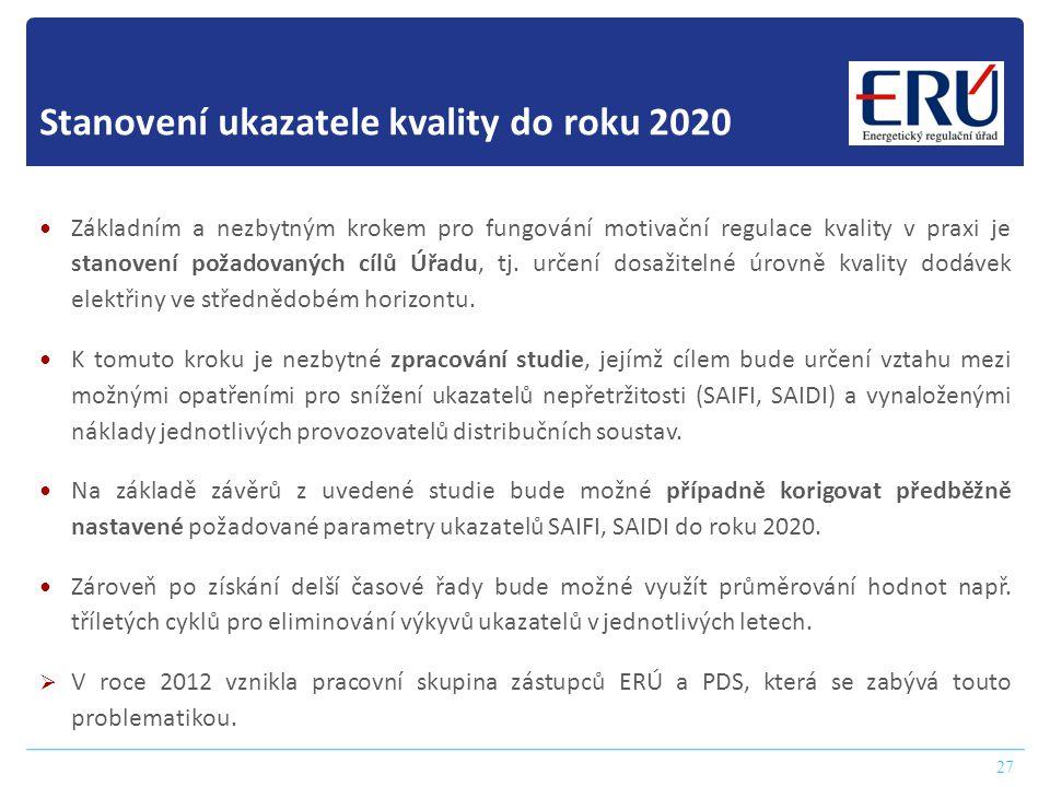 Stanovení ukazatele kvality do roku 2020 27  Základním a nezbytným krokem pro fungování motivační regulace kvality v praxi je stanovení požadovaných cílů Úřadu, tj.