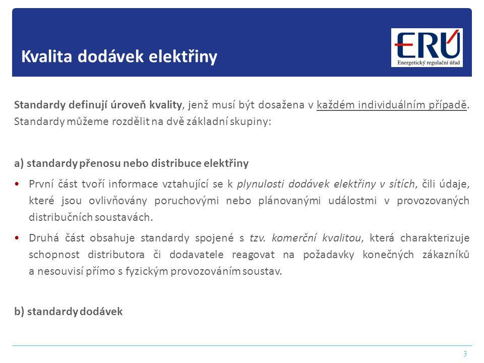 Vyhodnocení úrovně nepřetržitosti 4 Zároveň je na základě vyhlášky úřadem sledována a vyhodnocována nepřetržitost přenosu a distribuce elektřiny v přenosové soustavě a v distribučních soustavách.