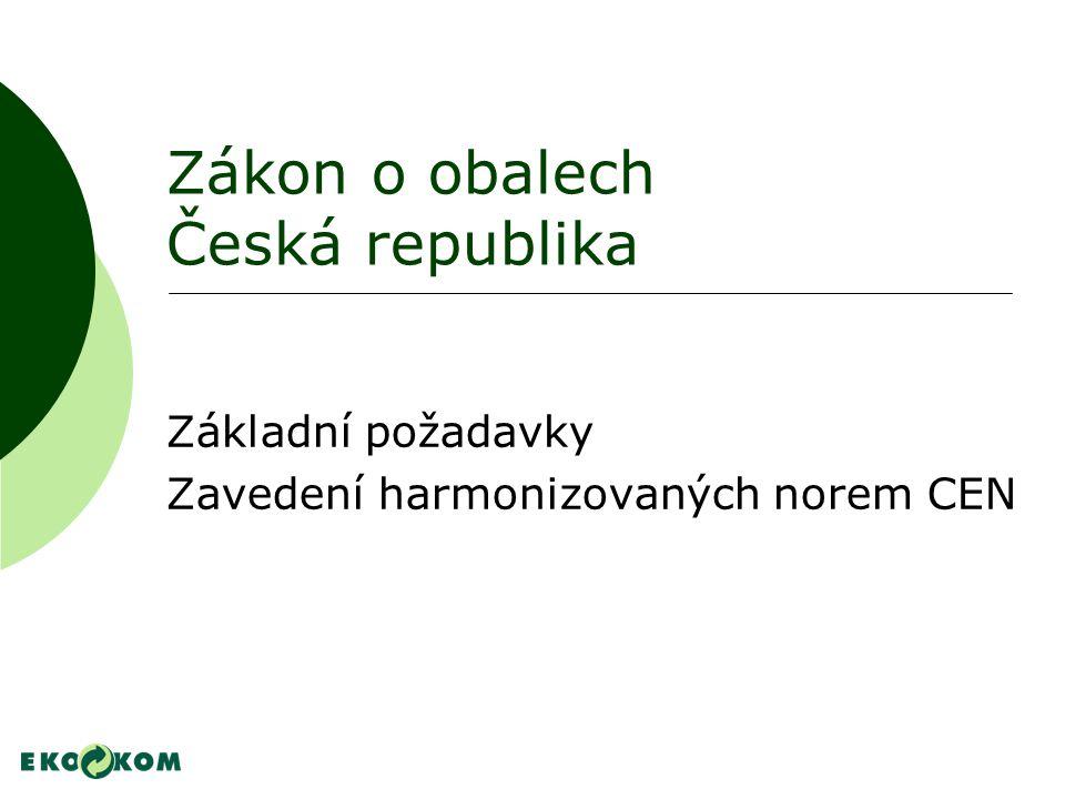 Zákon o obalech Česká republika Základní požadavky Zavedení harmonizovaných norem CEN