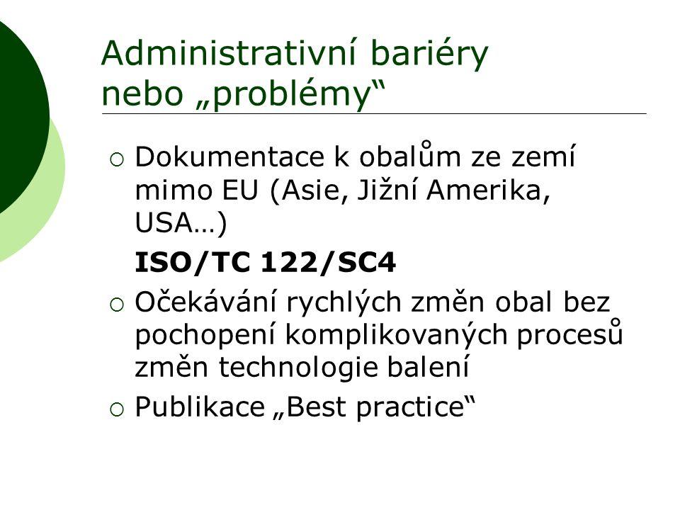 """Administrativní bariéry nebo """"problémy""""  Dokumentace k obalům ze zemí mimo EU (Asie, Jižní Amerika, USA…) ISO/TC 122/SC4  Očekávání rychlých změn ob"""
