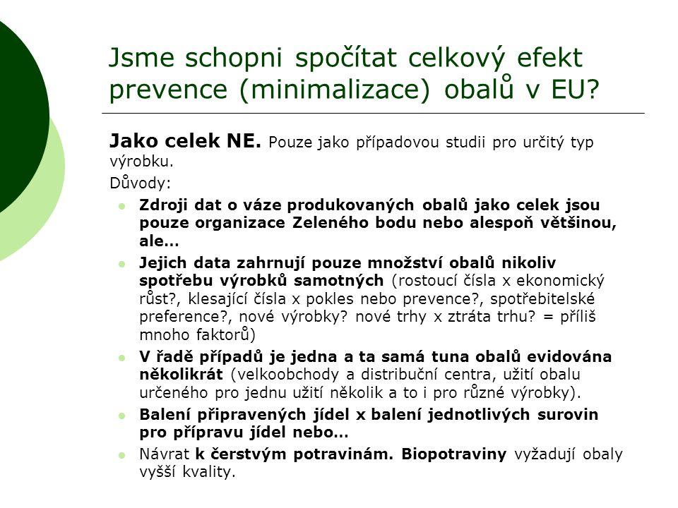 Jsme schopni spočítat celkový efekt prevence (minimalizace) obalů v EU? Jako celek NE. Pouze jako případovou studii pro určitý typ výrobku. Důvody: 
