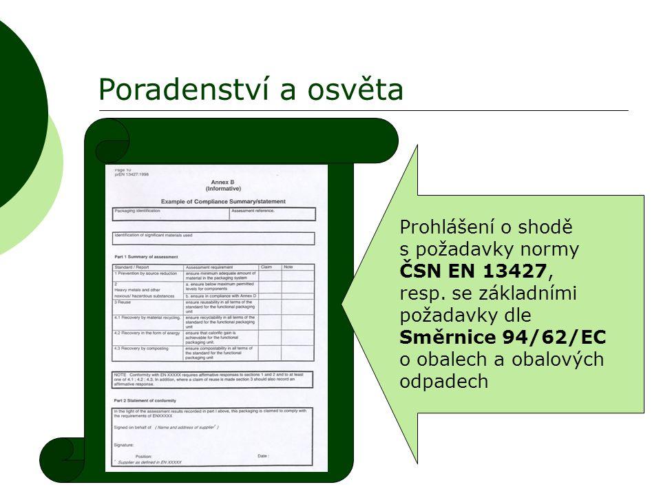 Poradenství a osvěta Prohlášení o shodě s požadavky normy ČSN EN 13427, resp. se základními požadavky dle Směrnice 94/62/EC o obalech a obalových odpa