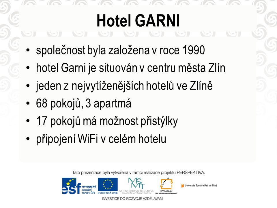 Hotel GARNI • společnost byla založena v roce 1990 • hotel Garni je situován v centru města Zlín • jeden z nejvytíženějších hotelů ve Zlíně • 68 pokojů, 3 apartmá • 17 pokojů má možnost přistýlky • připojení WiFi v celém hotelu