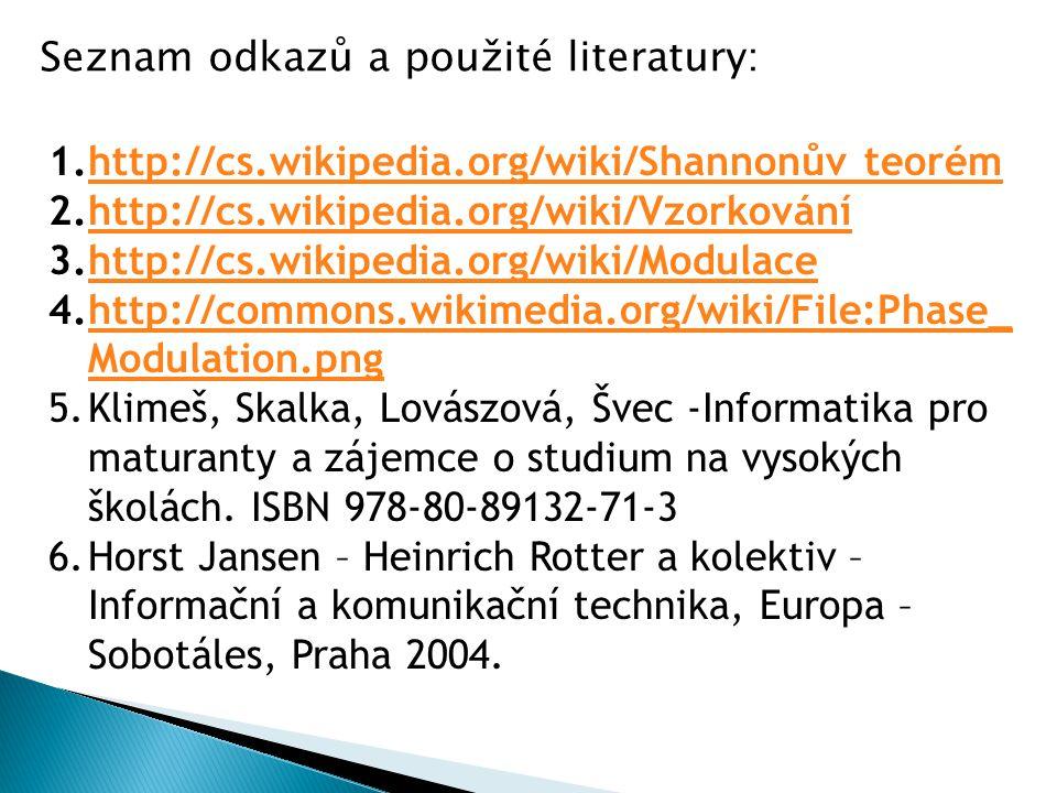 1.http://cs.wikipedia.org/wiki/Shannonův teorémhttp://cs.wikipedia.org/wiki/Shannonův teorém 2.http://cs.wikipedia.org/wiki/Vzorkováníhttp://cs.wikipe