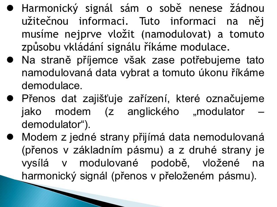  Harmonický signál sám o sobě nenese žádnou užitečnou informaci. Tuto informaci na něj musíme nejprve vložit (namodulovat) a tomuto způsobu vkládání